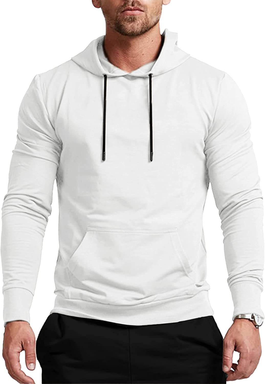Babioboa Men's Athletic Hoodie Casual Long Sleeve Hooded Sweatshirt Drawstring Pullover Hoodies With Pockets