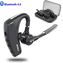 TTMOW Bluetooth Headsets V4.2 Hands Free Wireless Earpiece with Dual Mic Active Noise Cancelling Single Ear Bluetooth Cell Phones Earphone for Driving/Business/Office(Compatible for iOS Android)