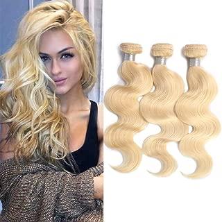 #613 Bleach Blonde Hair 3 Bundles Body Wave Weft Deals Brazilian Virgin Human Hair Wavy 613 Hair Weave 300g/Lot Mix Length 10 12 14 inches