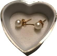 FursNewYork Perla de Agua Salada Blanca 6.5-7 mm con 14K Pendientes de Oro