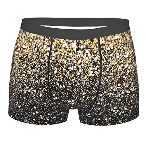 antkondnm Gold Shimmer Sequin Underwear Men, Designer Boxer Briefs for Men