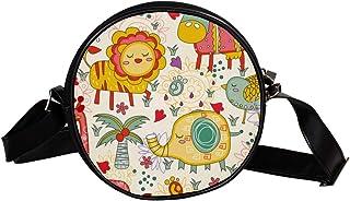 Coosun Umhängetasche mit niedlichem Dschungeltier-Motiv, rund, Schultertasche für Kinder und Damen