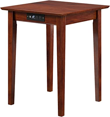 Atlantic Furniture AH10114 Shaker Printer Stand with Charging Station, Walnut