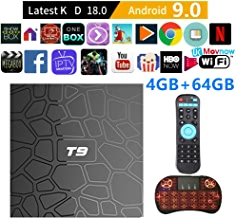 $65 » TTV Box Android TV Box Android 9.0 OS Smart TV Box 4GB 64GB T9 Support USB 3.0 BT 4.1 2.4G- 5G Dual-Band Wi-Fi 3D 4K Full HD H.265 100M Ethernet Android Mini with Wireless Keyboard Remote (Backlit)