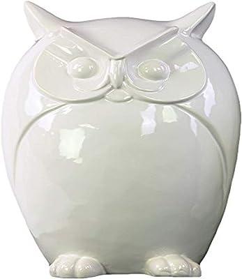 Urban Trends Porcelain Owl Figurine, Large, Gloss White