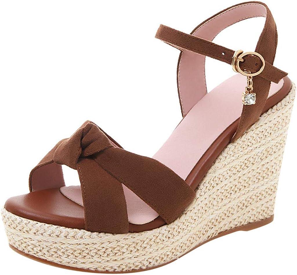Jesaisque Platform Sandals Wedge Sandals for Women Summer High Heel Open Toe Slip-On Slide Sandals