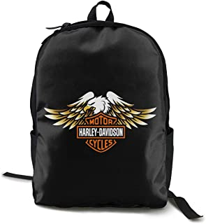 Harley Davidson Paquete Mochila Clásica Mochila Escolar Negro Bolsa de Trabajo para Poliéster Unisex Escuela