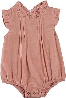 طفلة رومبير الرضع الصلبة اللون مطوي بذلة الوليد الطيران منزعج كم المنشعب زر قطعة واحدة (Color : Pink, Kid Size : 3M)