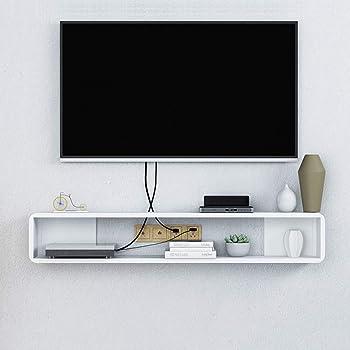Flotante TV Mueble Gabinete,Madera Pared Consola para TV Cuelgue De Pared Moderna Consola para TV para Set-Caja De Cable Superior Blanco 100x20x20cm(39x8x8inch): Amazon.es: Hogar