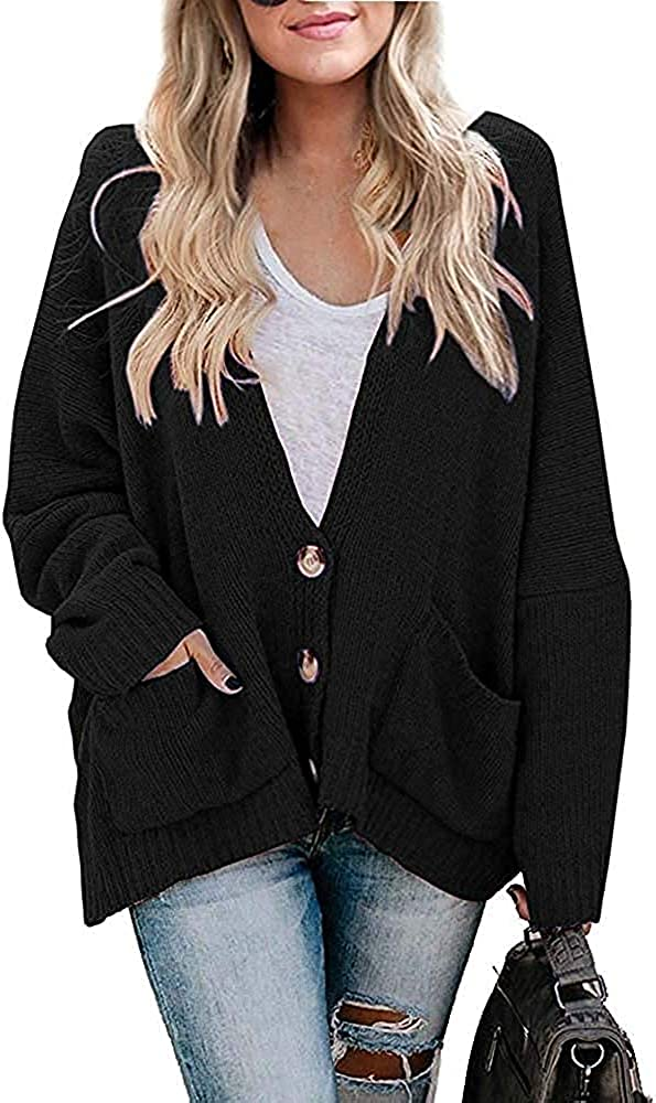YONYWA Womens Long Sleeve Button Down Open Front Cardigans Sweater Oversized Chunky Knit Soft Outerwear with Pockets