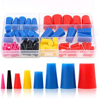 Swpeet 100Pcs High Temp Silicone Rubber Protective Tapered Plug Assortment Kit, Masking System Kit Perfect for Powder Coat...