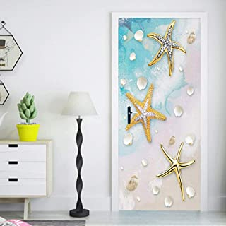 Zffmss 3D Door Sticker Wall Modern Blue Mediterranean Golden Starfish Shell Vinyl Murals Bathroom Kids Bedroom Self-Adhesive Decal 30.3
