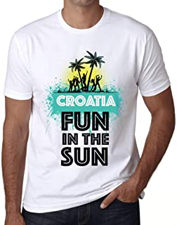 Men's Vintage Tee Shirt Graphic T Shirt Summer Dance Croatia White