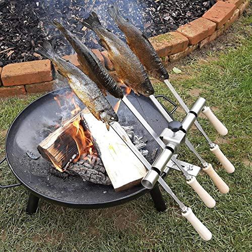 Steckerlfisch Halter für 4 Fische, Edelstahl Spieße, passt auf Jede Feuerschale