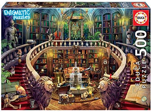 Educa- Serie Enigmatic Puzzle 500 Piezas, Biblioteca: un Enigma en Cada rincón de la Imagen (18479)