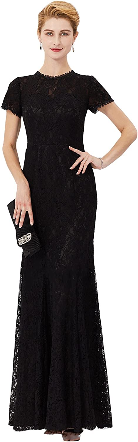 Kelaixiang Women's Retro Floral Lace Short Sleeve Slim Wedding Maxi Dress Party Evening Gown
