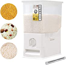 Volwco Rice Dispenser, Rice Storage Container, Rice Bin Container, Measureable Rice Cylinder, Kitchen Dry Food Rice Dispenser Plastic Container Auto Dispenser Organizer Set, 10KG Capacities of Rice