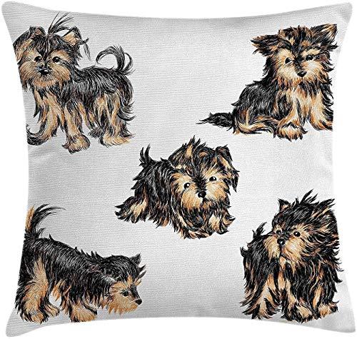 Funda de almohada de Yorkie Throw hecha a mano, lindo Yorkshire Terrier, imágenes realistas, perro caricatura caricatura, 48 x 48 cm, color marrón claro