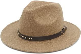 Fedora Cap Men Women Fedora Hat with Leather Belt Pop Panama Hat Fascinator Hat Wide Brim Church Hat Size 56-58CM Felt hat (Color : Khaki, Size : 56-58)