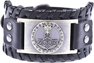 Viking Thor's Hammer Mjolnir Leather Bracelet 24 Nordic Runes Cuff Bangle for Men Amulet Jewelry