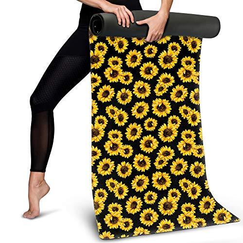 BIGCARJOB Yellow Sunflowers Hot Yoga Mat Eco-Friendly Suede Sweat Absorbent Bon-Slip Mat Sport Exercise Floor Mat Large Size