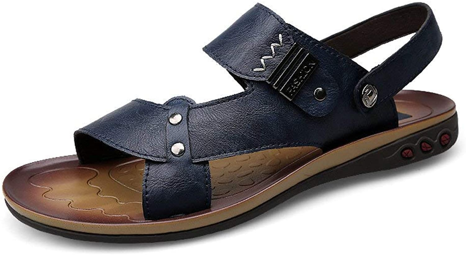 Fuxitoggo 2018 Sandals Men Faux Leather Beach Slippers Casual Non-slip Soft Sole Sandals shoes Adjustable Backless (color  Navy, Size  42 EU) (color   Navy, Size   45 EU)