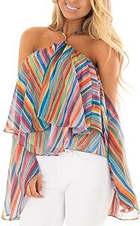 Women T Shirt,Off The Sholuder ANJUNIE Rainbow Printed Stripe Blouse Casual Tops