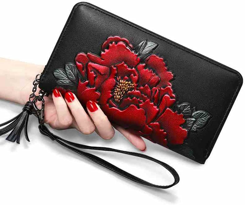 Women's Wallet, MultiFunction Zipper Wallet Long Ladies Wallet Ladies Hand Wallet Surface Leather Wallet Long Wallet Card Package (color   Black, Size   10  19cm)