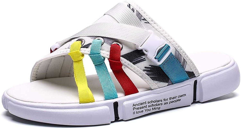 LQ Men's sandals Rubber non-slip wear-resistant slippers, mesh breathable sandals, multi-color optional beach shoes (color   A, Size   44)