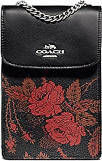 Coach North/South Phone Crossbody With Thorn Roses Print Black Red Multi