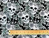 Oddies Textiles Stoff mit Totenkopf-Aufdruck, 100 %