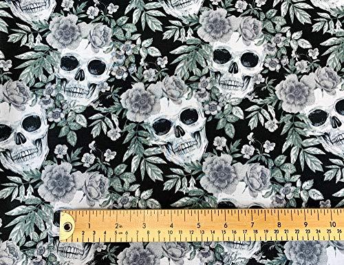 Oddies Textiles Stoff mit Totenkopf-Aufdruck, 100 % Baumwolle, Totenköpfe und schwarze Rosen