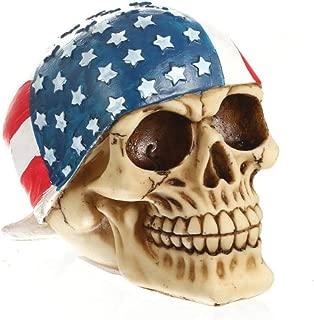 Mary Paxton Skeleton Skull Figurine,American Flag Hood USA Bandanna Human Skull Decor Skeleton Head Sculpture Statue Realistic Decorations Pirate Models Resin Bedroom Crafts Wacky Props Ornament