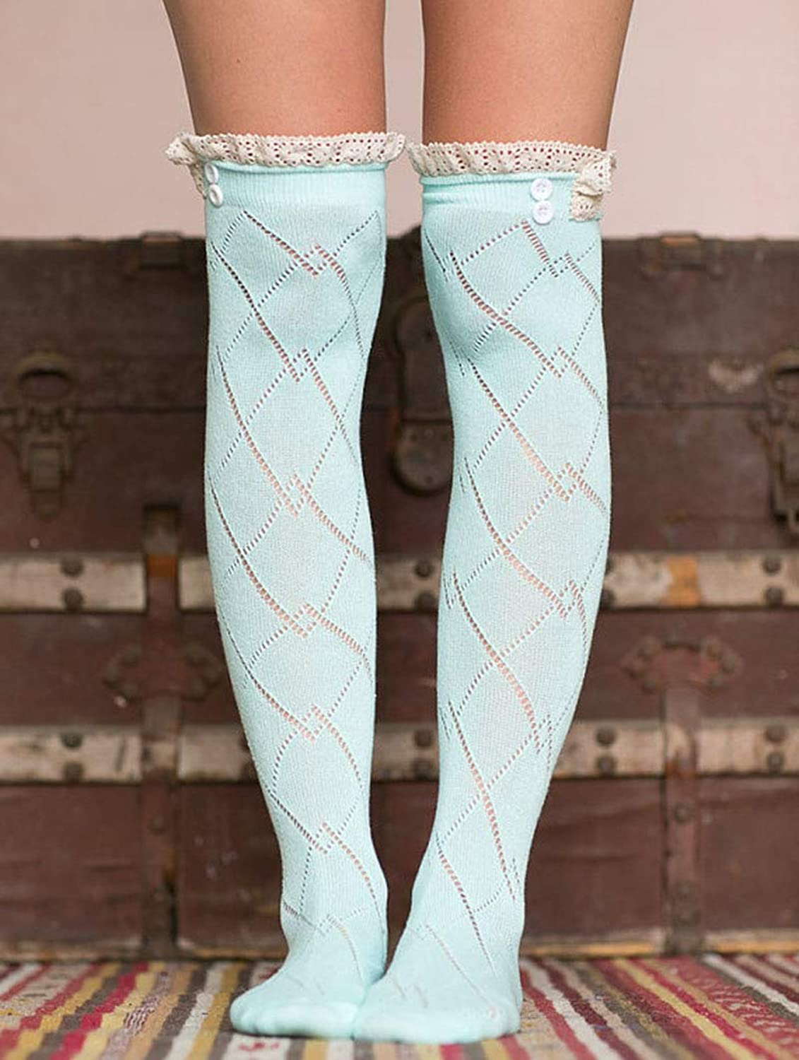 Comfortable Arm Warmer Leg Stocking Autumn and Winter Double Buckle lace Large Rhomboid Stockings Boots Set Warm Fashion Female Over The Knee high Socks (color   Light blueee)