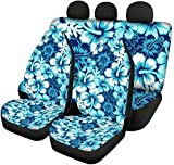 Tupalatus 4 Pieces Car Accessories Set Blue Hibiscus Florals Back Seat Protector+Auto Front Seat Covers Full Set Car Back Seat Pet Covers for Most Car SUV Van Truck