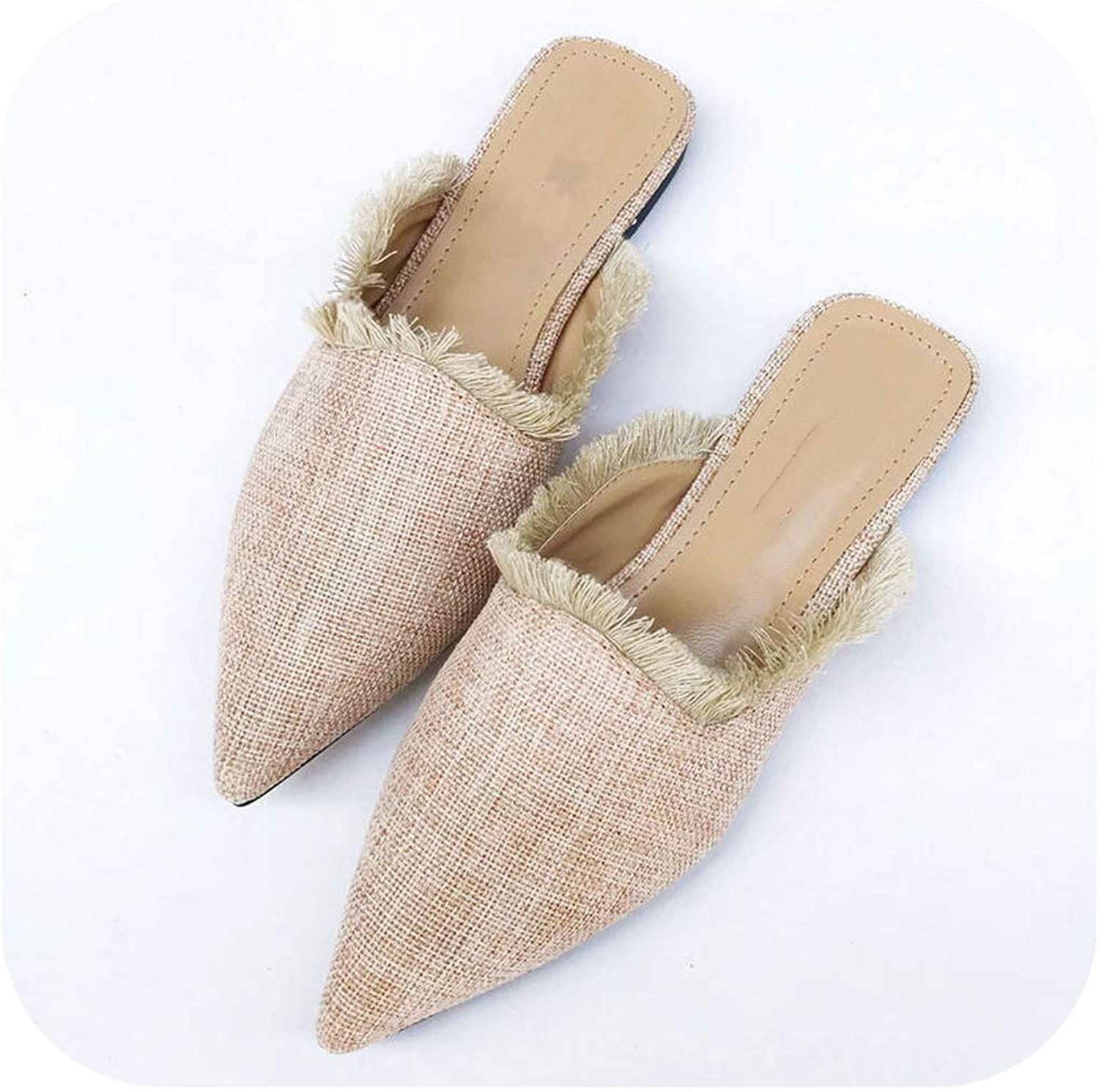 Women Slippers Hemp Weave Pointed Toe Flat Tassel Mules shoes