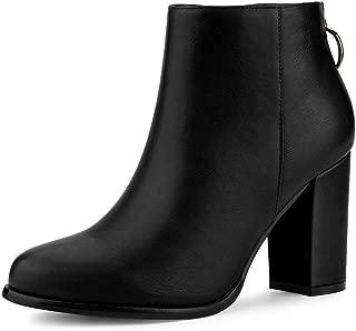 Women's Round Toe Back Zip Block Heel Ankle Booties