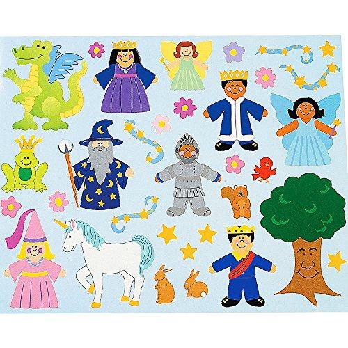 Elfen und Zwerge 12 x Haftspiel Klebespiel Prinzessinnen Zauberer Fee Drache Königreich Klebebilder Aufkleber Sticker Mitgebsel Geburtstag Einhorn