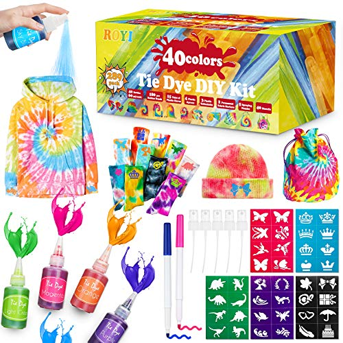 DIY Tie Dye Kit, 40 Colors Shirt Dye Kit for Kids, Adults, 289 Packs User-Friendly, Add Water Only Indoor and Outdoor Activities Supplies DIY Dyeing Kit, Creative Tie-Dye Kit Perfect for Party Group