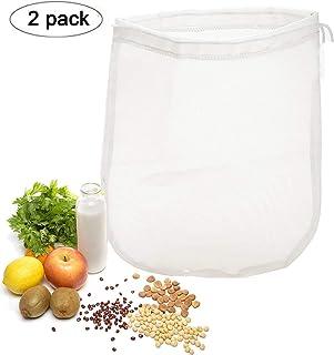 OldPAPA 75μm Nut milk bag, bolsa para hacer leches vegetales,bolsa para hacer queso, zumos (Paquete de 2) vegetales100% Nylon Perfecto como colador