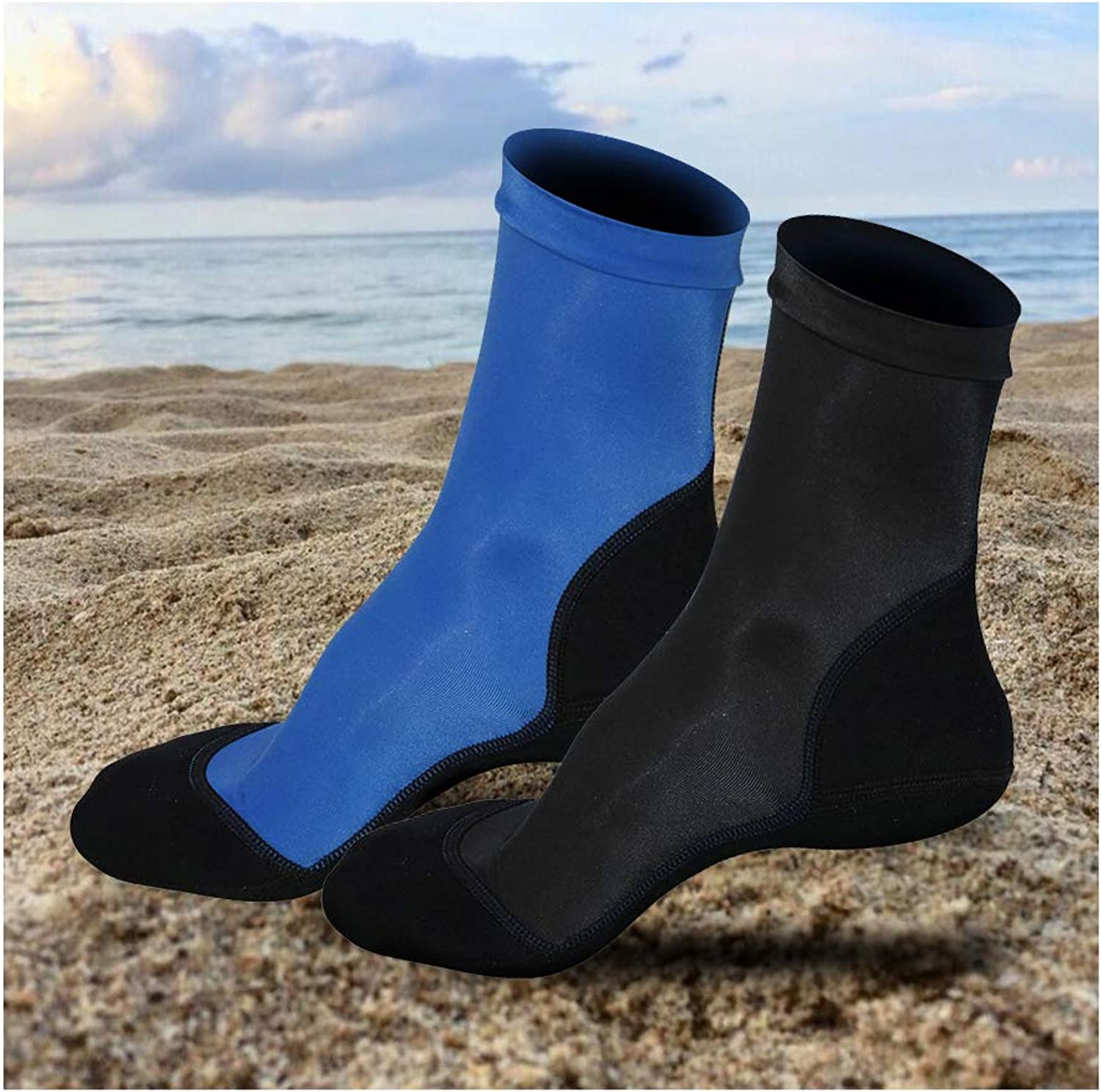 Beach Socks 2 Pairs  Neoprene Fin Socks, Water Sport Socks Lycra for Sand Volleyball Rafting Snorkeling Sand Soccer Lake Swimming Walking Fishing Angling Kayak Diving Beach