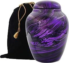 Exquisiteurns Fiber Glass Cremation Urn - Marbling Adult Urn - Handcrafted Light weighed Adult Funeral Urn for Ashes - Gre...