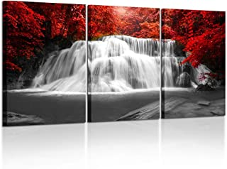 Kreative Arts Black White and Red Canvas Wall Art 3 Pieces Red Woods Waterfall Canvas..