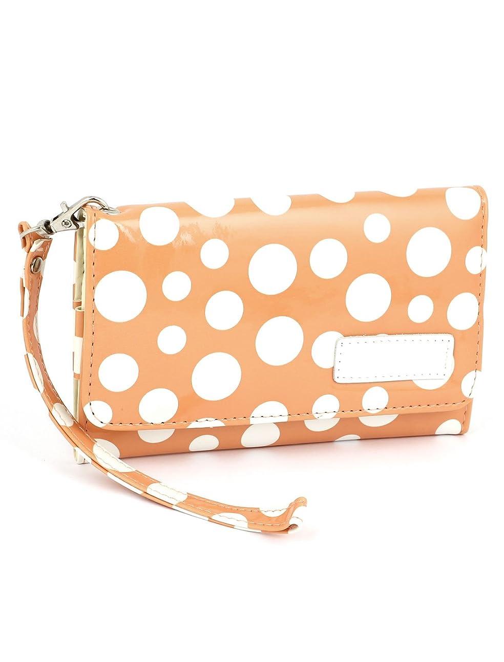 モナリザベールに慣れuxcell 電話財布 ストラップ付き レディ オレンジ 合皮 プレスボタン バックルドットパターン