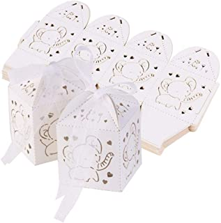 Gift Candy Boxes Baby Shower Favor Boxes Paper Candy Bag Box Hollow Out Elephant Pattern Candy Boxes Gift Bags Baby Shower Favors Ribbons Pack of 50 (White)