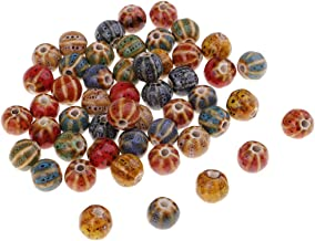 Baosity 50 Pieces Vintage Watermelon Loose Enamel Ceramic Beads Charms for Jewelry Making Beading Sewing on Clothing Bag Decoration 10mm