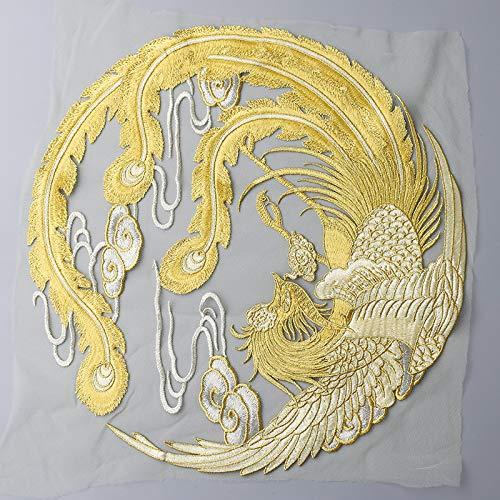 A/N Golden Phoenix Round 4pcs Patches zum Aufbügeln, DIY Gestickt Aufkleber,fürJacken, Jeans,Schuhe, Rucksäcke, T-Shirts