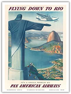Flying Down to Rio Brazil - Pan American Airways (PAA) - Christ the Redeemer Statue - Vintage Airline Travel Poster by Paul George Lawler c.1930s - Master Art Print - 9in x 12in