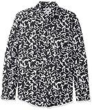 Amazon Essentials - Camisa de lino con manga larga, corte entallado y estampado para hombre, Negro (black Leaf Print), US XL (EU XL - XXL)