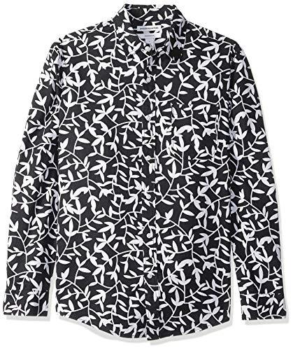 Amazon Essentials - Camisa de lino con manga larga, corte entallado y estampado para hombre, Negro (black Leaf Print), US L (EU L)